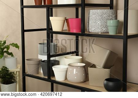 Shelving Unit With Many Different Houseplant Pots Near Beige Wall Indoors
