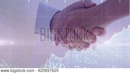 Composition of financial data processing over businessman handshake. global finance and business success concept digitally generated image.