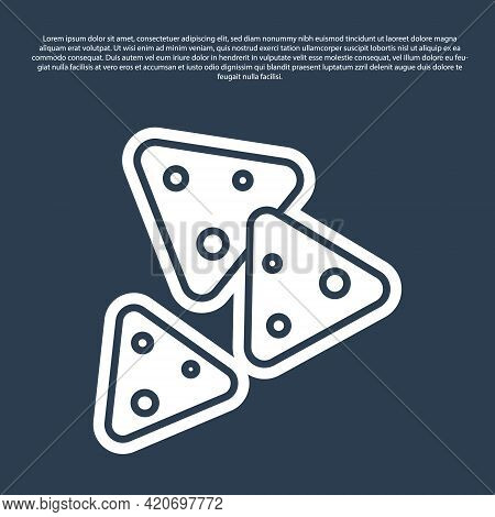 Blue Line Nachos Icon Isolated On Blue Background. Tortilla Chips Or Nachos Tortillas. Traditional M
