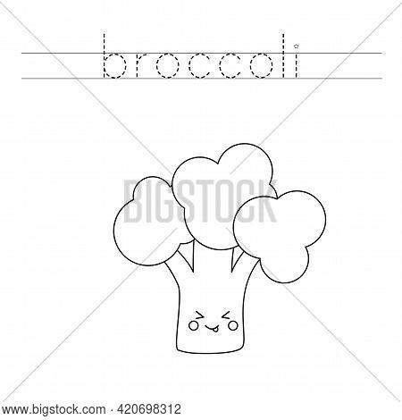 Trace The Word. Cute Broccoli. Handwriting Practice For Preschool Kids.