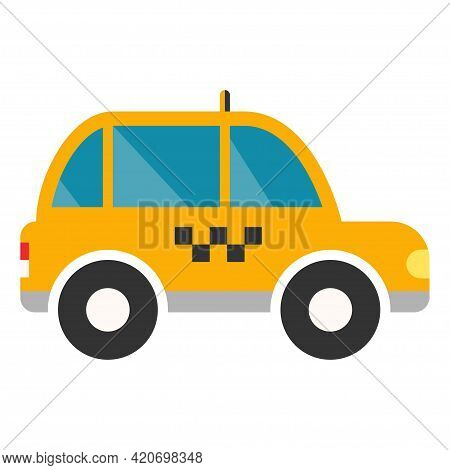 Taxi Cab In Flat. Delivery Car. City Taxi In Yellow. Delivery Transport