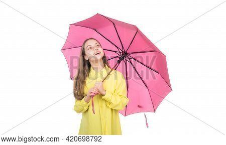 Cheerful Teen Child Hold Pink Parasol. Kid In Hat With Pink Umbrella. Autumn Season.