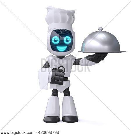 Little Robot Cook Holding Serving Cloche, Chef Robot 3d Rendering