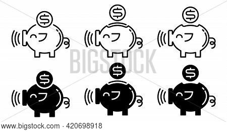 Money Piggy Bank Flat Icons Set. Piggy Bank And A Coin With A Banknote. Vector Elements.