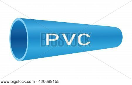Blue Pvc Pipe With Pvc Text On White Background