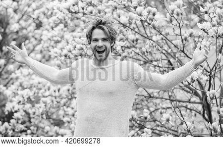 Happy Spring Concept. Hipster Enjoy Blossom Aroma. Spring Season. Springtime Concept. Unshaven Man S