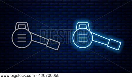Glowing Neon Line Leaf Garden Blower Icon Isolated On Brick Wall Background. Vector