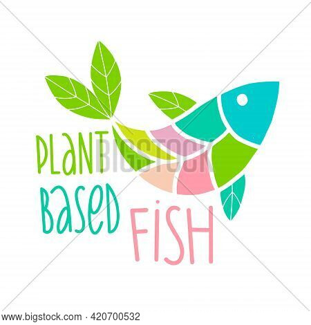 Plant Based Fish Concept. Vegan Product. Fish Fins In The Form Of Green Leaves. Organic Natural Vege