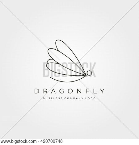 Dragonfly Minimalist Vector Logo Insect Symbol Illustration Design