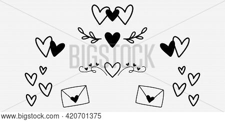 Handwritten Heart Icons In Doodle Style. Hand Drawing Romantic Symbols In Black. Love Dividers Decor
