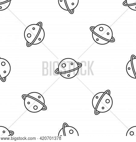 Grey Line Planet Saturn With Planetary Ring System Icon Isolated Seamless Pattern On White Backgroun
