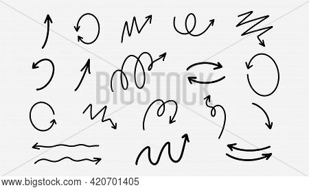Hand Drawn Sketch Arrows In Black. Handwritten Arrows Set In Doodle Style. Curve Drawing Pointer Sym