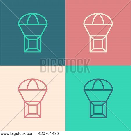 Pop Art Line Box Flying On Parachute Icon Isolated On Color Background. Parcel With Parachute For Sh