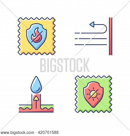 Different Fabric Features Vector Flat Color Icon Set. Fireproof Textile Property. Windproof And Uv P