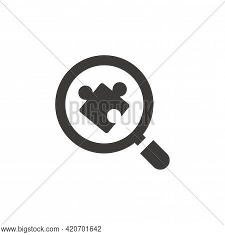 Magnifying Glass Or Magnifier With Puzzle Piece. Loupe, Business Solution Black Vector Symbol.