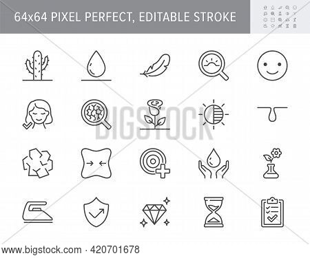 Cosmetic Properties Line Icons. Vector Illustration Include Icon - Cream, Collagen, Anti Aging Effec