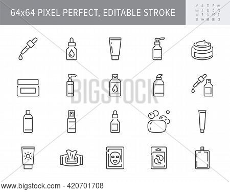 Cleanser Cosmetic Line Icons. Vector Illustration Include Icon - Cream, Collagen, Mask, Makeup Lotio