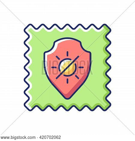 Uv Protection Fabric Feature Vector Flat Color Icon. Special Tissue Property. Sunlight Resistant Fib