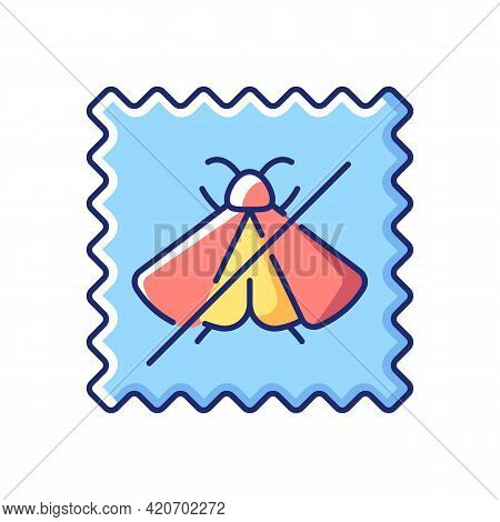 Moth Repellent Fabric Feature Vector Flat Color Icon. Quality Textile. Cover Protection For Silk And