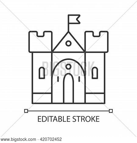 Medieval Castle Linear Icon. Historic Building. Fortress, Palace. Housing And Fortification. Thin Li
