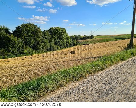 Agriculture. Tractor Plowing Field. Wheels Covered In Mud, Field In The Backround. Cultivated Field.