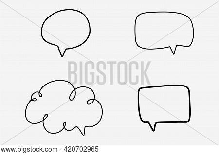 Hand Drawn Speech Bubble Message. Scribble Message Frame. Doodle Style Of Speech Bubble Box. Doodle