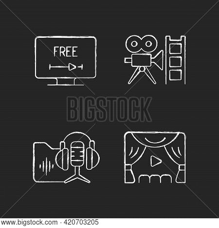 Streaming Services Chalk White Icons Set On Black Background. Free Trial Option. Retro Channel. Podc