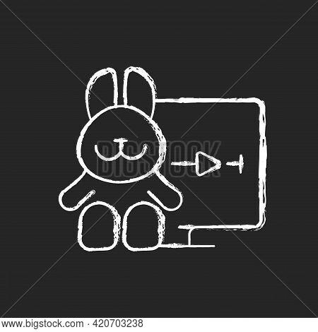 Cartoons Streaming Chalk White Icon On Black Background. Family-friendly Shows. Entertainment Conten