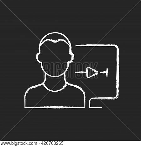 Streaming Service User Account Chalk White Icon On Black Background. Watching Video Content At Home.