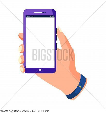 Hand Holding Smartphone And Touching Screen. Flat Vector Illustration Phone With Blank Screen. Smart