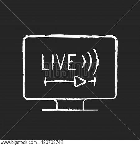Live Tv Chalk White Icon On Black Background. Online Tv Service. Live Television. Programs Broadcast