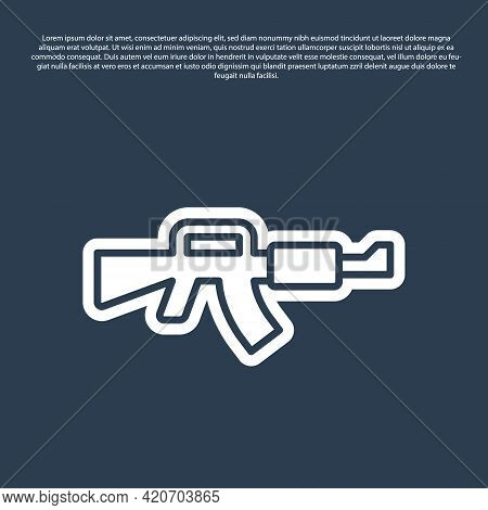 Blue Line M16a1 Rifle Icon Isolated On Blue Background. Us Army M16 Rifle. Vector
