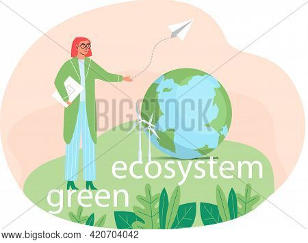 Take Care About Planet. Nature And Ecology Modern Graphic Design Poster. Girl In Glasses Stands Near