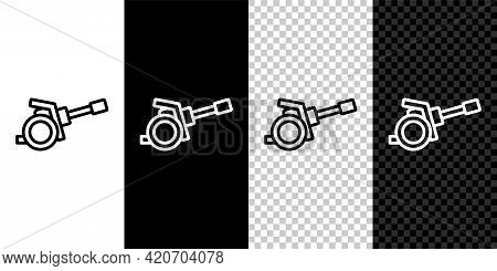 Set Line Howitzer Icon Isolated On Black And White, Transparent Background. Shooting From A Gun. Art
