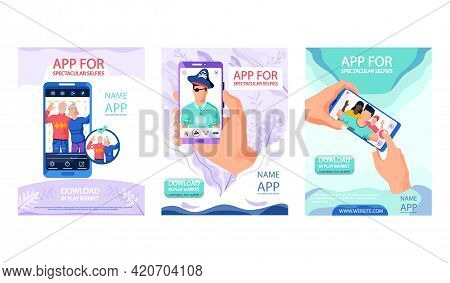 Set Of Illustrations About App For Spectacular Selfies Concept Poster. People Use Application To Edi