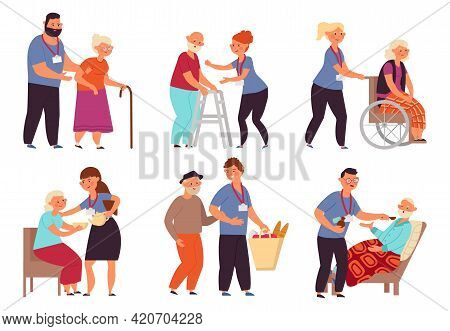 Social Worker Characters. Senior Elderly Care, Old Person Taking Help. Volunteers Service, Health Fo