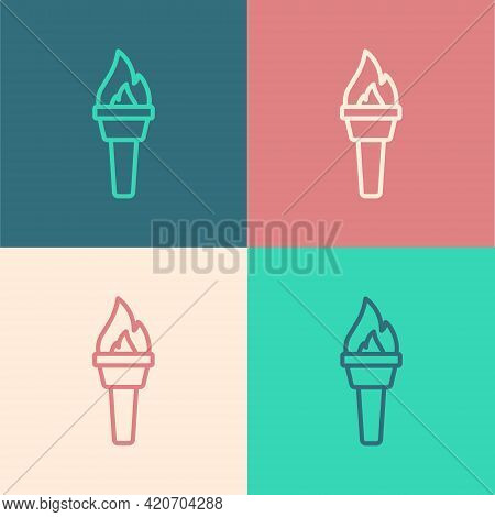 Pop Art Line Torch Flame Icon Isolated On Color Background. Symbol Fire Hot, Flame Power, Flaming An