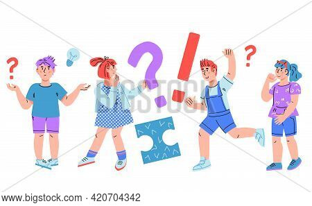 Thinking, Doubting And Confused Children Have Questions, Asking And Doubting. Smart Kids Thinking An