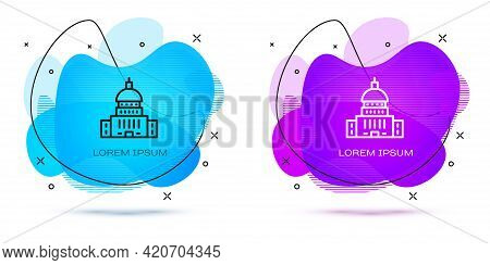 Line White House Icon Isolated On White Background. Washington Dc. Abstract Banner With Liquid Shape