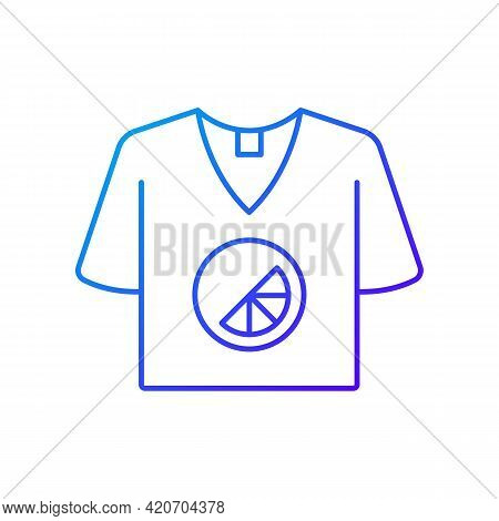 Branded T Shirt Gradient Linear Vector Icon. Creating Own Merch To Advertise Company. Marketing Comp