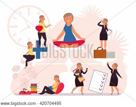 Life Balance. Health Work Equality, Women Hard Working. Woman On Scales, Stress Control And Care. Bu