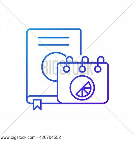 Branded Diary And Notebook Gradient Linear Vector Icon. Stylish Place To Keep All Notes. Designer Cr