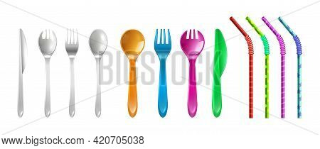 Plastic Cutlery And Straws. Drink Straw, Colorful Reusable Fork Knife Spoon. Cafe Restaurant Bar Equ