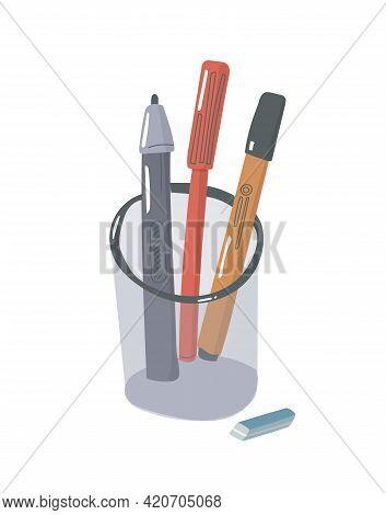 Desk Organizer For Utilities. Organizer Office And School Supplies. Flat Design. Writing Equipment.