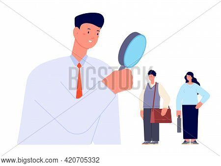 Candidate Search. Find Professionals, Look In Magnifier For Searching Workers. Businessman Or Hr Man