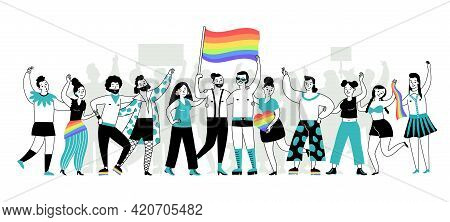 Pride Parade. Young People, Lgbt Homosexual Community Hold Rainbow Banner. Lgbtq Person, Gay Lesbian