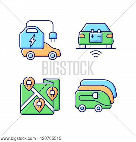Electric Vehicle Charging Rgb Color Icons Set. Charging Time Of Electromobiles. Money Spent For Elec