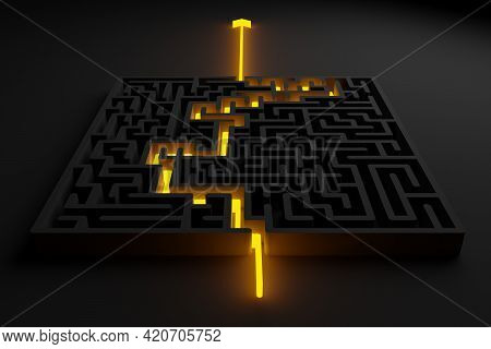 Yellow Glowing Path Thru Black Maze Or Labyrinth Over Black Background, Success, Strategy Or Solutio