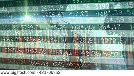 Composition of financial data processing on green background. global business, finance and technology concept digitally generated image.