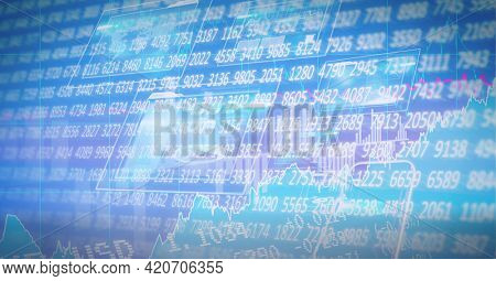 Composition of financial data processing on blue background. global business, finance and technology concept digitally generated image.